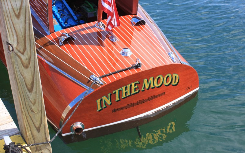 """""""In The Mood"""" 1941 19' Chris Craft Custom retains all of its original sides and deck planking Tom & Susan Parsons Charlevoix, Michigan2"""