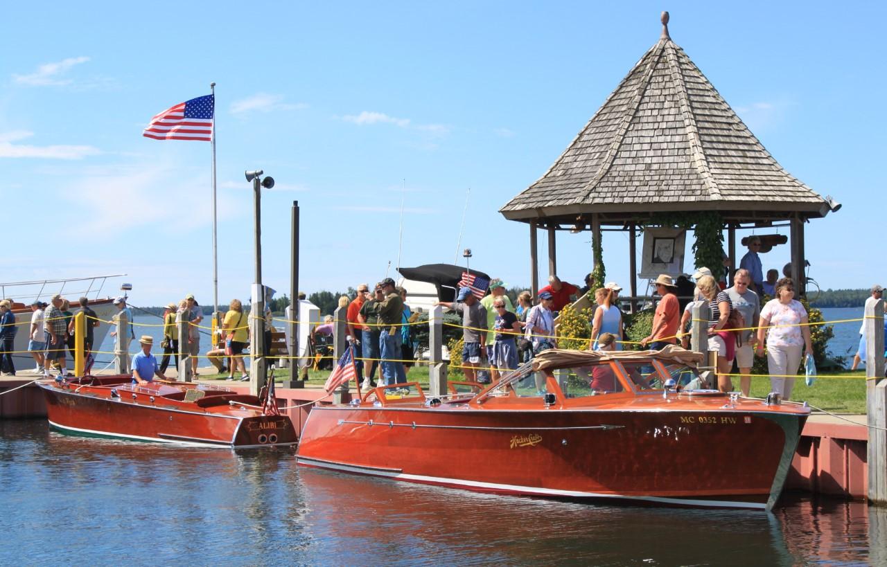 """Wuzz-a-Fuzz"" a former Detroit police boat a1947 31' Hacker Craft Tom & Mary Flood Les Cheneaux, Michigan"