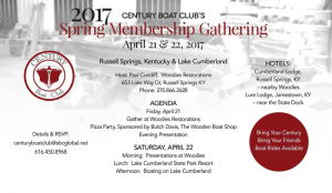 Century Boat Club 2017 Spring Membership Gathering @ Cumberland Lodge | Russell Springs | Kentucky | United States